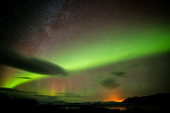 Iceland. Northern lights aurora Milky Way volcanic landscape Stock Photography