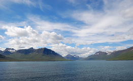 Iceland ocean mountains Royalty Free Stock Photo