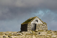 Iceland old cottage. Old Iceland stone cottage in middle of stone meadow royalty free stock photography