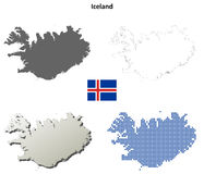 Iceland outline map set Stock Photos