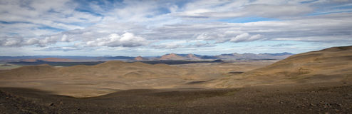 Iceland panorama. Panorama of the Icelandic inland wilderness stock image