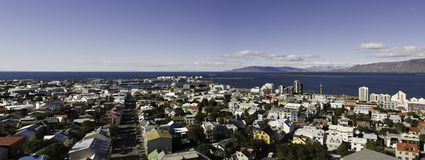 iceland panorama reykjavik arkivbilder