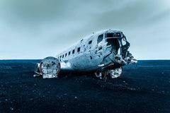 Iceland plane wreck royalty free stock photography