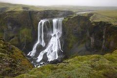 Iceland. Południowy teren. Lakagigar. Fagrifoss siklawa. Zdjęcie Stock
