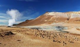 Iceland, Powulkaniczny krajobrazowy Namafjall Zdjęcie Royalty Free