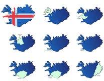 Iceland prowincj mapy Zdjęcie Stock
