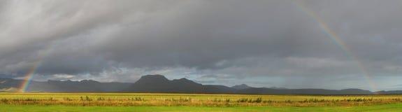 Iceland rainbow. Rainbow in the mountains around Vik Royalty Free Stock Photos