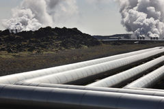 Iceland. Reykjanes Peninsula. Geothermal Plant and volcanic rock Royalty Free Stock Photo