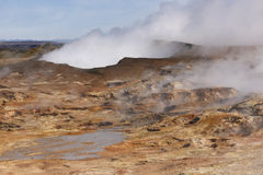 Iceland. Reykjanes Peninsula. Geothermal Plant and volcanic rock Royalty Free Stock Images