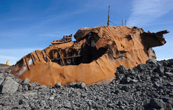 Iceland. Reykjanes Peninsula. Rusted vessel and volcanic ground. Stock Photography