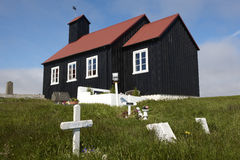 Iceland. Reykjanes Peninsula. Utskalar church and cemetery. Royalty Free Stock Photos