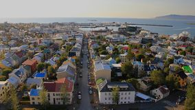 Iceland 2012. Reykjavik city center view from church in summer 2012 Royalty Free Stock Photos