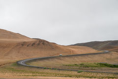 Iceland ring road winding through scenic landscape Royalty Free Stock Photo
