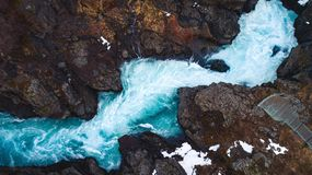 Iceland River drone royalty free stock photo