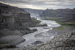 Iceland_river. Icelandic river  Dettifoss in the late evening Royalty Free Stock Images