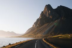 Iceland Roads and Mountains with sunset landscape stock image
