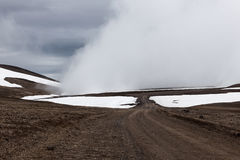 Iceland rural road in beautiful icelandic. Stock Photo