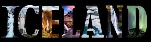 Iceland słowo - kraju imię z tło podróży pocztówką Fotografia Royalty Free