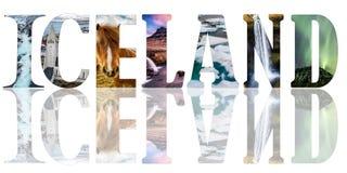 Iceland słowo - kraju imię z tło podróży pocztówką Obraz Royalty Free