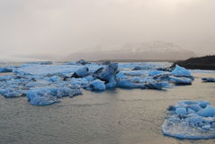 Iceland Sea. Amazing glacier at Iceland with moon Stock Photos