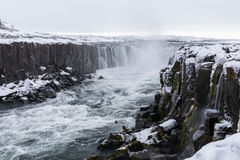 Iceland Selfoss Waterfall. In winter with snow Stock Photo