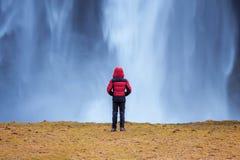 iceland seljalandsfossvattenfall Grabben i rött omslag ser den Seljalandsfoss vattenfallet fotografering för bildbyråer