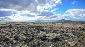 Iceland - September , 2014 - lavascape under strong sunny blue sky in Thingvellir in Southwestern Iceland. Lava Stock Photo