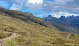 Iceland - September , 2014 - road trip in ring road iceland, green yellow grass fjord mountain. Stock Photography