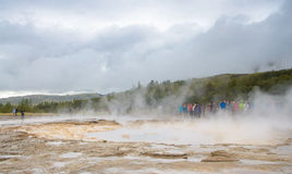 Iceland - September , 2014 - Strokkur geysir bubble ready to blow,The Strokkur Geyser erupting at the Haukadalur geothermal area, Stock Photo