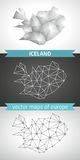 Iceland set of grey and silver mosaic 3d polygonal maps Royalty Free Stock Photo
