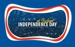 iceland Självständighetsdagenhälsningkort papperssnittstil vektor illustrationer