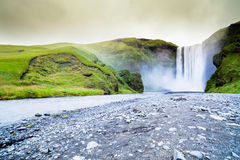 Iceland Skogafoss waterfall and natural landscape Royalty Free Stock Photo