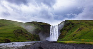 Iceland, Skogafoss waterfall in a rainy day Stock Images