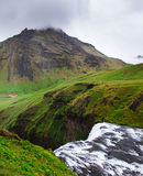 Iceland, Skogafoss waterfall in a rainy summer day Royalty Free Stock Photos