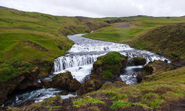 Iceland, Skogafoss waterfall in a rainy summer day Stock Image