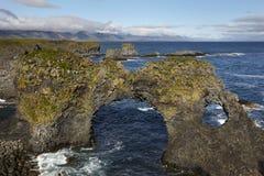 Iceland. Snaefellnes Peninsula. Basaltic rocks and North Atlanti Stock Photo