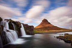 Iceland snaefellsnes peninsula and famous Kirkjufell. Kirkjufell is a beautifully shaped and a symmetric. stock photo