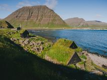 Iceland Snaefellsnes peninsula landscape with traditional houses. With grass roofs stock images