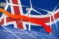 Iceland solar and wind energy lowering chart, arrow down - environmental natural energy industrial illustration. 3D Illustration. Iceland solar and wind energy stock illustration