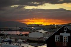 iceland solnedgång royaltyfri bild