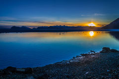iceland solnedgång Fotografering för Bildbyråer