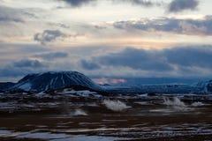 iceland solnedgångvulcano royaltyfri fotografi