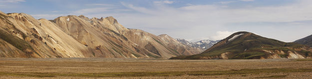 Iceland. South area. Fjallaback. Volcanic landscape with rhyolit Royalty Free Stock Photos
