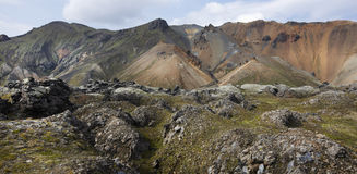 Iceland. South area. Fjallabak. Volcanic landscape with rhyolite Royalty Free Stock Images