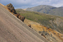 Iceland. South area. Fjallabak. Volcanic landscape with rhyolite Stock Photos