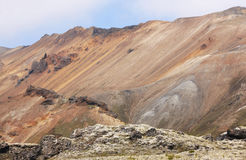 Iceland. South area. Fjallabak. Volcanic landscape with rhyolite Royalty Free Stock Photography