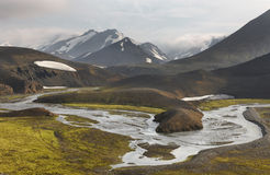Iceland. South area. Fjallabak. Volcanic landscape with river. Stock Photo