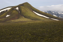 Iceland. South area. Fjallabak. Volcanic landscape with snow. Stock Photos