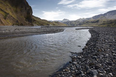 Iceland. South area. Landscape near Porsmork. River an mountains Stock Image