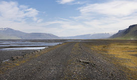 Iceland. South area. Landscape from Road F249 to Porsmork. Royalty Free Stock Photo